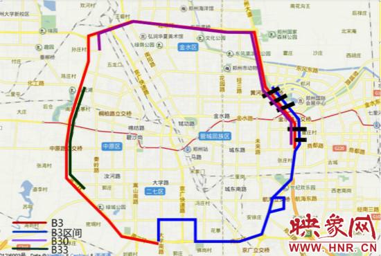 三环快速BRT公交线路图.-郑州三环快速公交26日试运营图片