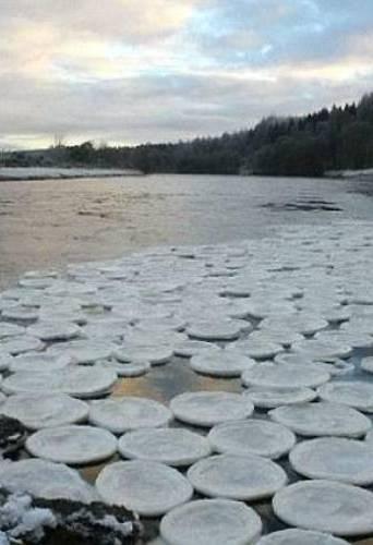 """苏格兰湖面出现""""飞盘""""冰"""